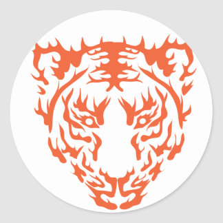 Tiger Face Round Stickers