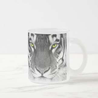 Tiger face - white tiger - eyes tiger - tiger frosted glass coffee mug