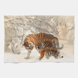 Tiger family in winter towels