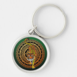 Tiger Feng Shui Silver-Colored Round Keychain