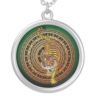 Tiger Feng Shui Round Pendant Necklace