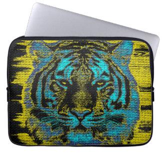 Tiger Fine Art on Burlap Rustic Jute #2 Laptop Sleeves