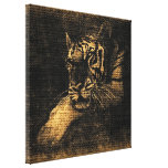 Tiger Fine Art on Burlap Rustic Jute #5 Gallery Wrapped Canvas