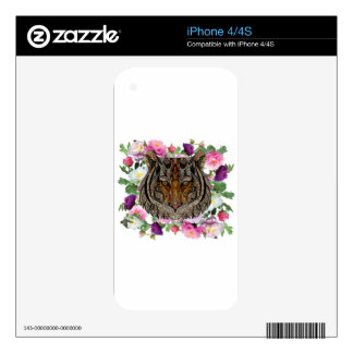 tiger flowers design decal for iPhone 4