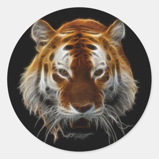 Tiger Fractal Classic Round Sticker