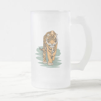 Tiger Frosted Glass Beer Mug