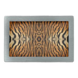 Tiger fur pattern rectangular belt buckle