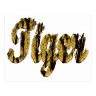 Tiger - Furry Text Postcard