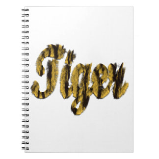 Tiger - Furry Text Spiral Notebook