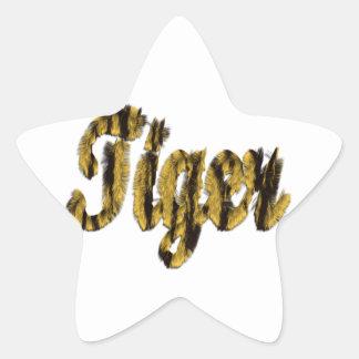 Tiger - Furry Text Star Sticker