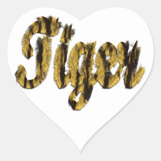 Tiger - Furry Text Heart Sticker