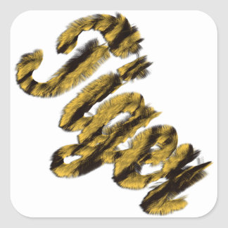 Tiger - Furry Text Square Sticker