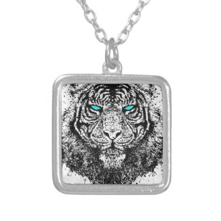 Tiger gaze silver plated necklace