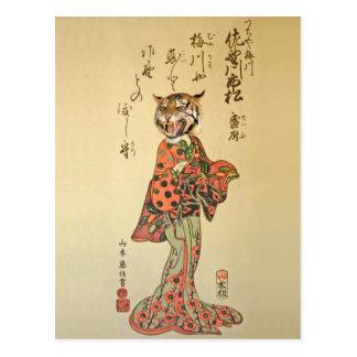 Tiger Geisha in Floral Dress Postcard
