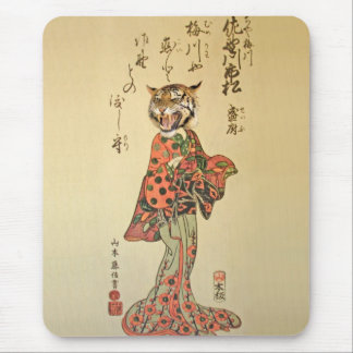 Tiger Geisha with Floral Pattern Mouse Pad