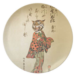 Tiger Geisha with Floral Pattern Party Plate