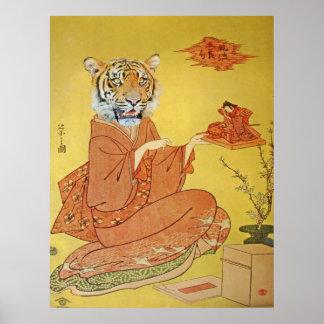Tiger Geisha With Miniature Samurai Poster