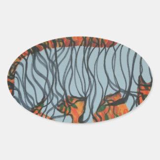 Tiger ghost oval sticker