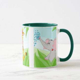 Tiger, giraffe and elephant mug