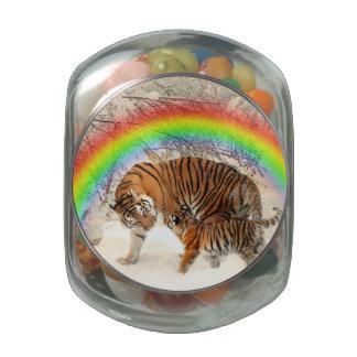 Tiger Glass Candy Jar