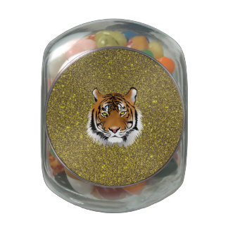 Tiger Glass Candy Jars