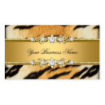 Tiger Gold Animal Black Jewel Look Image Double-Sided Standard Business Cards (Pack Of 100)
