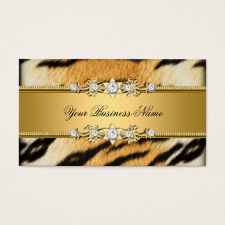 Tiger Gold Animal Black Jewel Look Image Business Card
