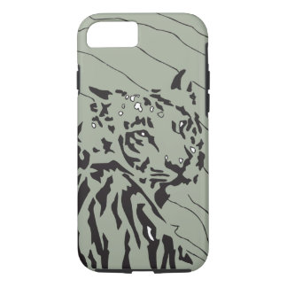 Tiger graphic black and white on lt green bkg iPhone 7 case