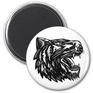 Tiger Growling Scratchboard Magnet