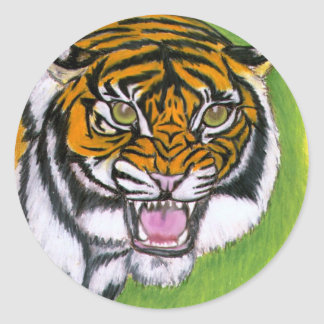 Tiger Growling Round Stickers