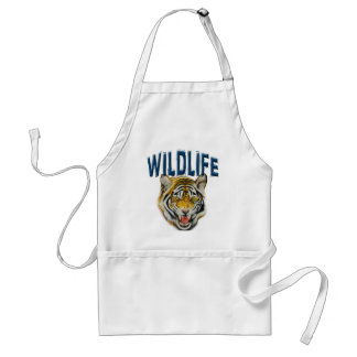Tiger growling with words Wildlife Adult Apron