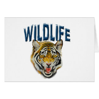 Tiger growling with words Wildlife Card