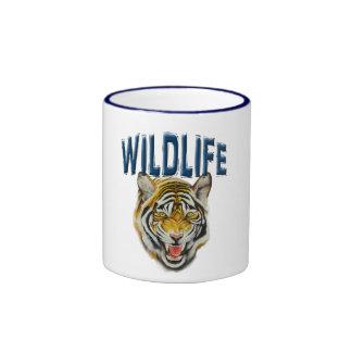 Tiger growling with words Wildlife Ringer Coffee Mug