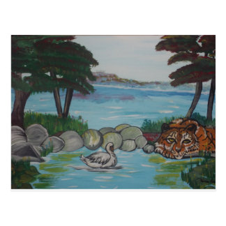 Tiger hanging out at the Lake Postcard