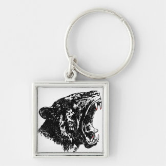 Tiger head blood teeth key ring Silver-Colored square keychain