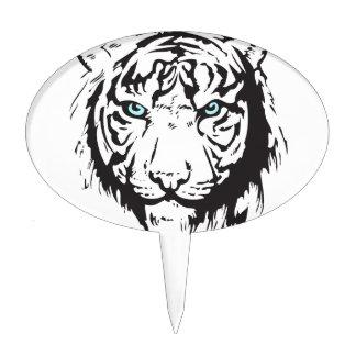 Tiger Head Blue Eyes Cake Topper