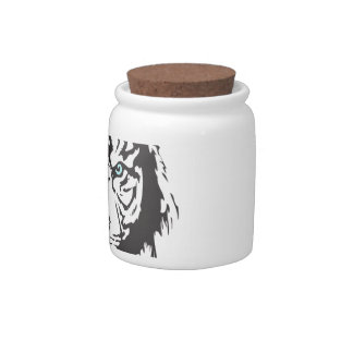 Tiger Head Blue Eyes Candy Jar