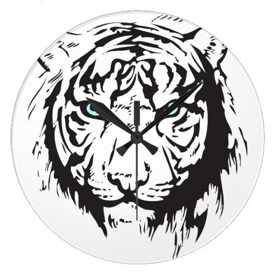Tiger Head Blue Eyes Large Clock