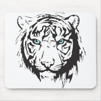 Tiger Head Blue Eyes Mouse Pad