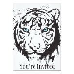 Tiger Head Blue Eyes Personalized Invitations