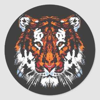 Tiger Head Classic Round Sticker