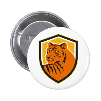 Tiger Head Front Crest Retro Button