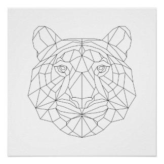 Tiger Head Geometric Black White Modern Art Print