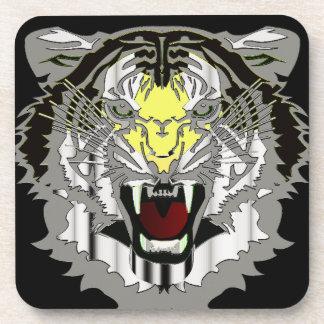 Tiger Head, Metallic-look,Wild Cat Drink Coasters