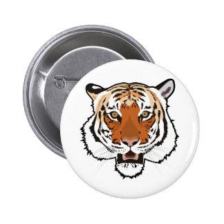 Tiger head pinback button