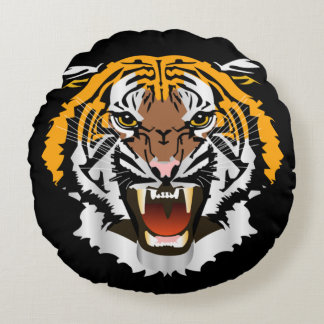 Tiger head round pillow