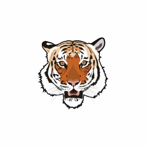 Tiger head standing photo sculpture