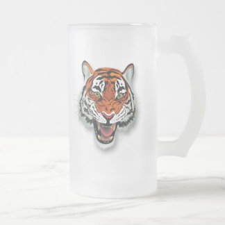 Tiger Head Tall Frosted Glass Mug