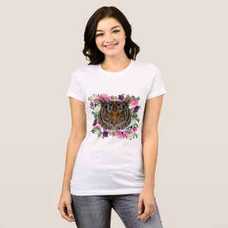 Tiger head with flower background design T shirt