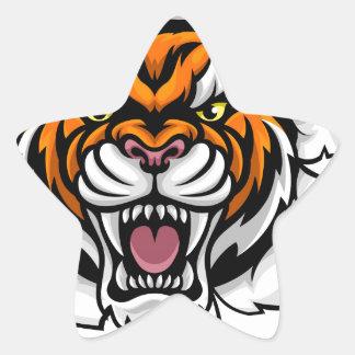 Tiger Holding Baseball Ball Breaking Background Star Sticker
